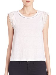 Rebecca Taylor Embroidered Linen Tee Snow