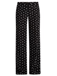 Miu Miu Cat Print Wide Leg Silk Trousers Black Multi