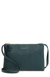Ted Baker London Suzette Double Zip Leather Crossbody Bag Green Dark Green