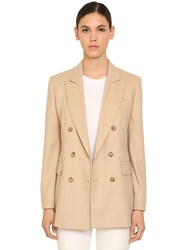 Max Mara Double Breasted Camel And Cashmere Blazer Beige