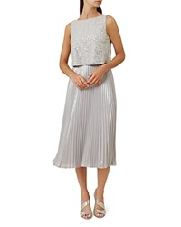 Hobbs London Evelyn Embellished Pleated Dress Silver