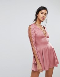 Finders Keepers Bloom Shine Cut Out Mini Dress Dusty Sienna Pink