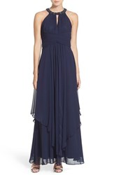 Petite Women's Eliza J Embellished Tiered Chiffon Halter Gown Midnight Navy