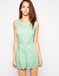 Ax Paris Scalloped Playsuit With Lasercut Detail Seagreen