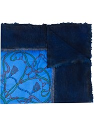 Avant Toi Printed Square Scarf Blue