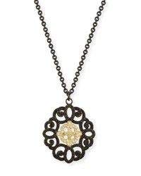 Armenta Old World Filigree Pendant Necklace With Diamonds And Black Sapphires Yellow Black