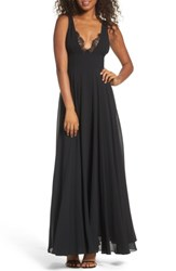 Lulus Women's Lace Trim Chiffon Maxi Dress Black