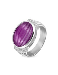 Roma Imperiale Carved Amethyst And Diamond 18K Gold Ring Violet