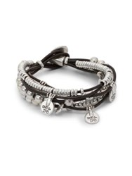 Uno De 50 Leather And Bead Charm Bracelet Silver