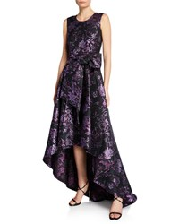 Zac Posen Clarissa Sleeveless Gilded Jacquard High Low Gown With Bow Plum Black