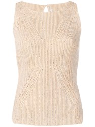 Ermanno Scervino Crystal Embellished Top Neutrals