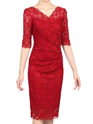 Jolie Moi Three Quarter Sleeve Scalloped Lace Dress Red
