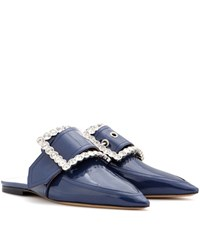 Maison Martin Margiela Embellished Patent Leather Slippers Blue