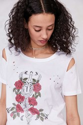 Truly Madly Deeply Snake And Sword Destroyed Tee Ivory