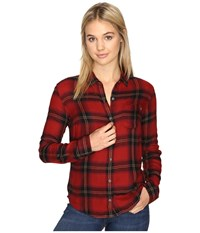 Obey Ammalyn Button Down Red Multi Women's Clothing