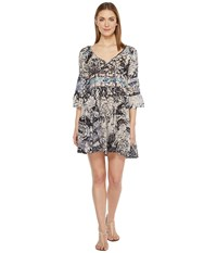 Brigitte Bailey Mahalia Printed V Neck Dress Navy Women's Dress