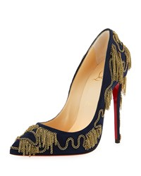 Christian Louboutin Dolly Party Chain Detail Red Sole Pump Navy Women's