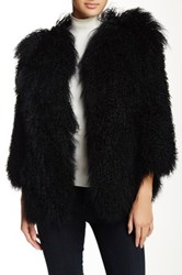 Pam And Gela Genuine Dyed Lamb Fur Mongolian Coat Black
