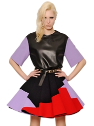 Fausto Puglisi Nappa Leather And Wool Crepe Top Black
