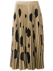 Msgm Polka Dot Pleated Skirt Brown