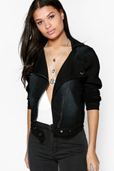 Boohoo Slim Fit Stretch Denim Biker Jacket Black