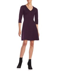 Taylor Floral Jacquard Fit And Flare Dress Plum