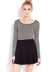 Forever 21 Seaside Striped Crop Top Taupe Black