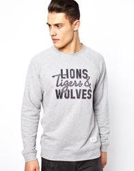 A Question Of Sweatshirt With Lions Tigers And Wolves Print Grey