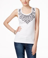 Karen Scott Embroidered Tank Top Only At Macy's Bright White