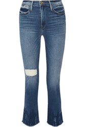 Frame Le High Distressed Straight Leg Jeans Mid Denim