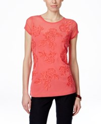 Inc International Concepts Petite Embroidered Cap Sleeve Blouse Only At Macy's Polished Coral