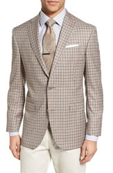 David Donahue Men's Big And Tall Connor Classic Fit Check Wool Sport Coat Tan