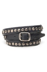 Men's Will Leather Goods 'Laurel' Wrap Bracelet Black