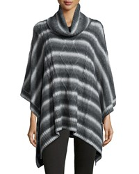 Neiman Marcus 3 4 Sleeve Cable Knit Poncho Gray Light Gray