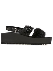 P.A.R.O.S.H. Rabbit Fur Embellished Sandals Black