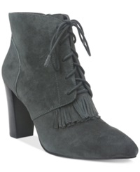 Tahari Augusta Lace Up Booties Women's Shoes Elephant Grey