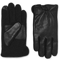 Polo Ralph Lauren Touchscreen Leather And Flannel Gloves Black