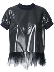 Kolor Tulle Trim T Shirt Blue
