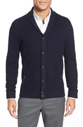 Ted Baker 'Jimboe' Modern Slim Fit Textured Shawl Collar Cardigan Navy