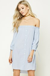 Forever 21 Off The Shoulder Striped Dress Cream Blue