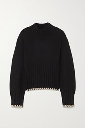 Khaite Colette Whipstitched Ribbed Cashmere Sweater Black