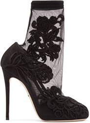 Dolce And Gabbana Black Lace Sock Heels