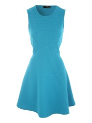 Jane Norman Textured Fit And Flare Dress Blue