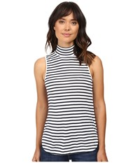 Splendid 1X1 Stripe Mock Neck Tank Top White Women's Sleeveless