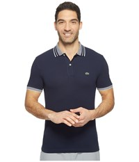 Lacoste Short Sleeve Semi Fancy Stretch W Fine Stripe Rib Slim Navy Blue White Men's Clothing