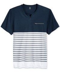 Inc International Concepts Men's Uptown Colorblocked Striped T Shirt Only At Macy's Basic Navy
