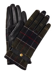 Barbour Tartan And Leather Glove Black