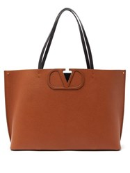 Valentino V Logo Large Grained Leather Tote Bag Brown