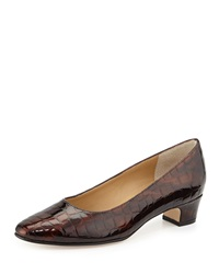 Neiman Marcus Abbie Crocodile Embossed Patent Pump Brown