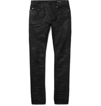 Saint Laurent Skinny Fit 15Cm Hem Crinkled Stretch Denim Jeans Black